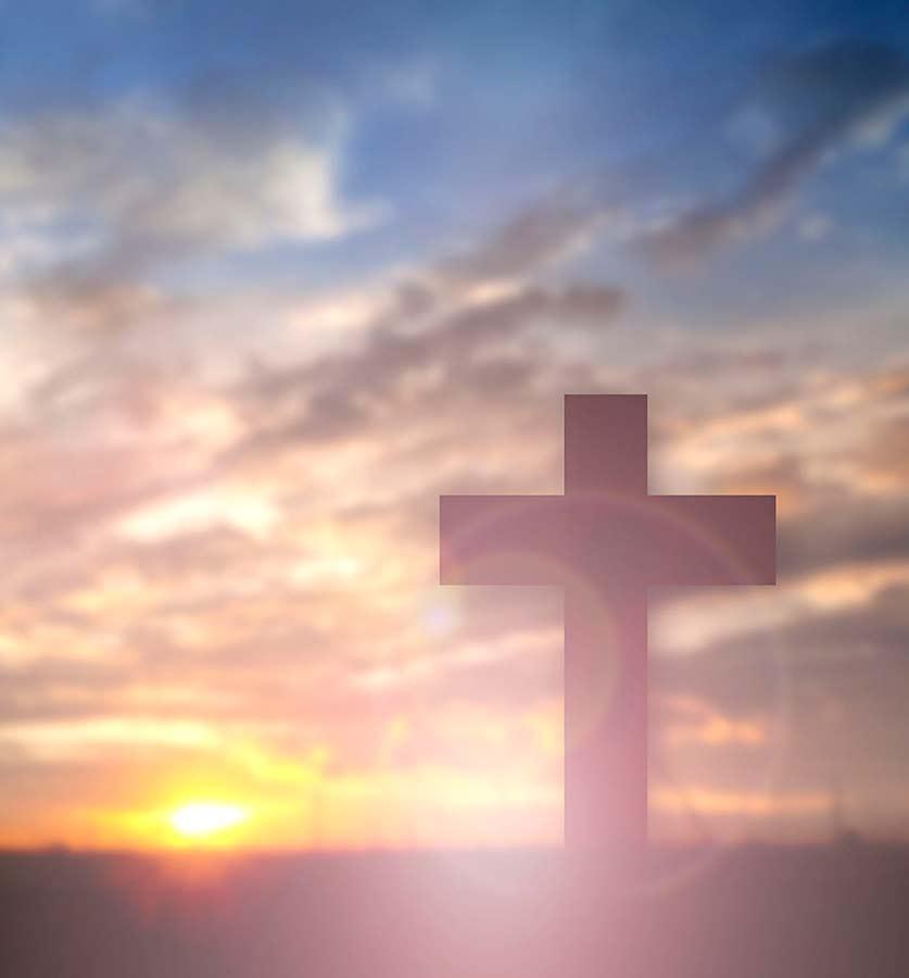 Cross in sunset